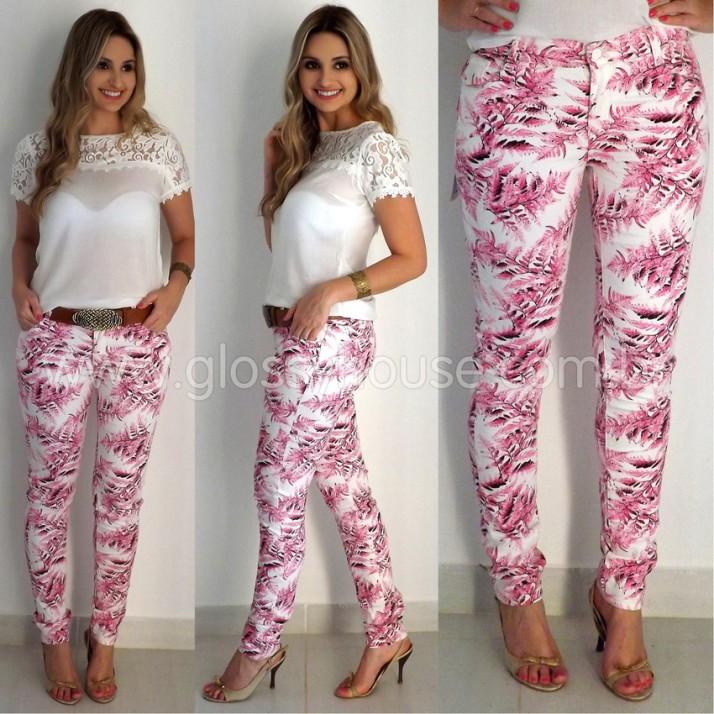 calça estampa rosa, sarja, strech