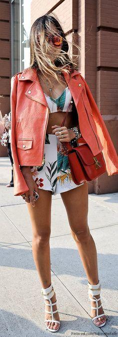 jaqueta vermelha courino