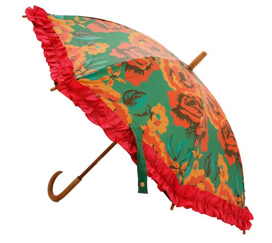 guarda-chuva em vermelho florido