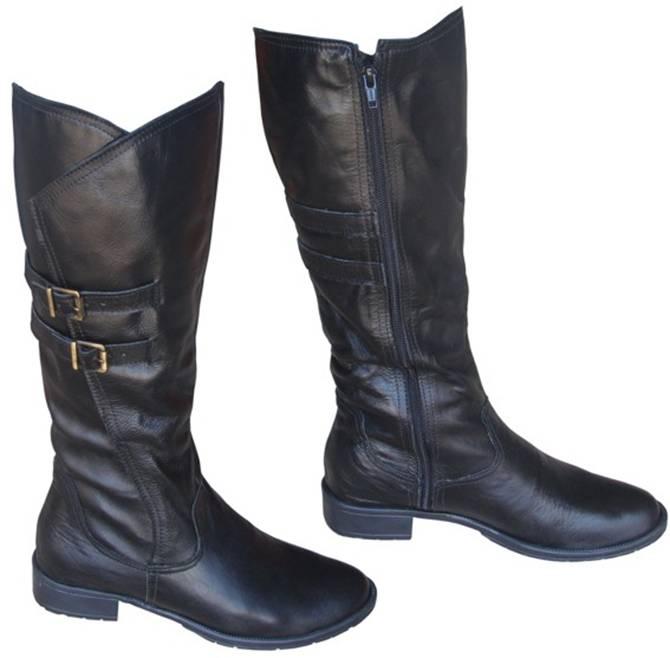 botas em couro preto