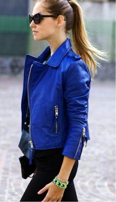 jaqueta azul cobalto